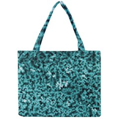 Teal Cubes Tiny Tote Bags