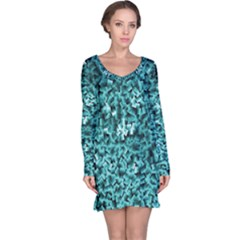 Teal Cubes Long Sleeve Nightdresses