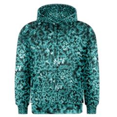 Teal Cubes Men s Zipper Hoodies