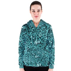 Teal Cubes Women s Zipper Hoodies