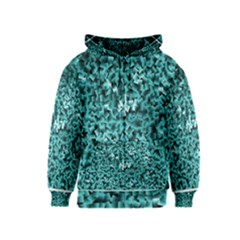 Teal Cubes Kids Zipper Hoodies