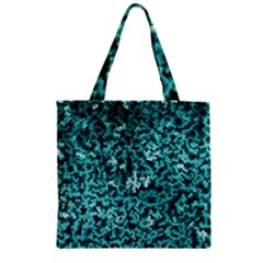 Teal Cubes Zipper Grocery Tote Bags