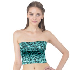 Teal Cubes Women s Tube Tops