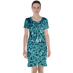 Teal Cubes Short Sleeve Nightdresses
