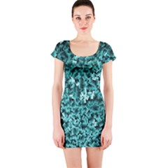Teal Cubes Short Sleeve Bodycon Dresses