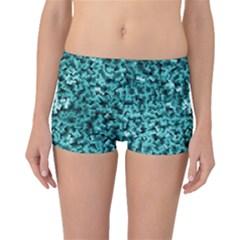 Teal Cubes Boyleg Bikini Bottoms