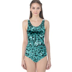 Teal Cubes Women s One Piece Swimsuits