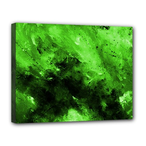 Bright Green Abstract Canvas 14  X 11