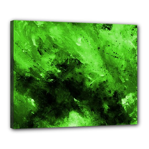Bright Green Abstract Canvas 20  X 16