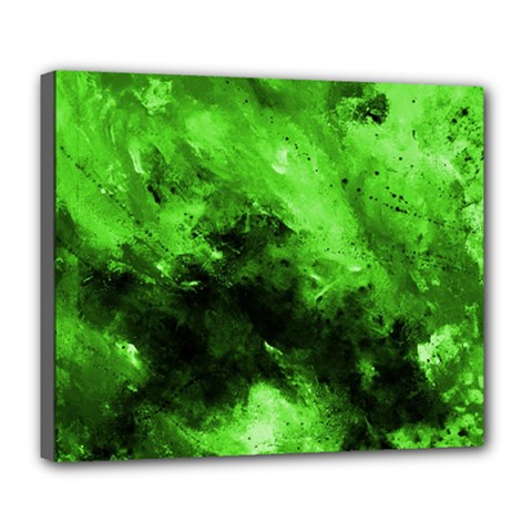 Bright Green Abstract Deluxe Canvas 24  X 20