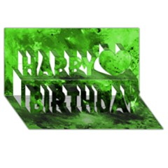 Bright Green Abstract Happy Birthday 3D Greeting Card (8x4)
