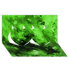 Bright Green Abstract Twin Hearts 3D Greeting Card (8x4)