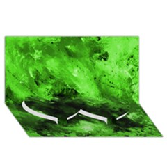 Bright Green Abstract Twin Heart Bottom 3d Greeting Card (8x4)