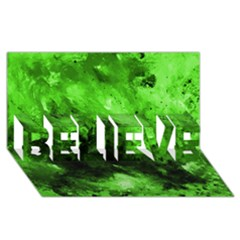 Bright Green Abstract BELIEVE 3D Greeting Card (8x4)