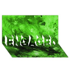 Bright Green Abstract Engaged 3d Greeting Card (8x4)