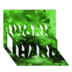 Bright Green Abstract WORK HARD 3D Greeting Card (7x5)