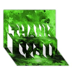 Bright Green Abstract Thank You 3d Greeting Card (7x5)