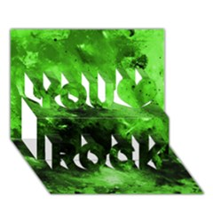Bright Green Abstract You Rock 3d Greeting Card (7x5)