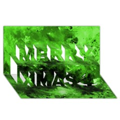 Bright Green Abstract Merry Xmas 3D Greeting Card (8x4)