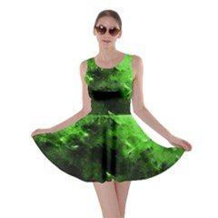 Bright Green Abstract Skater Dresses