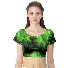 Bright Green Abstract Short Sleeve Crop Top