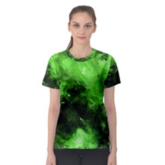 Bright Green Abstract Women s Sport Mesh Tees