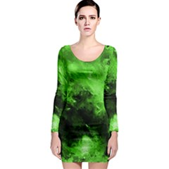Bright Green Abstract Long Sleeve Bodycon Dresses