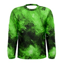 Bright Green Abstract Men s Long Sleeve T-shirts
