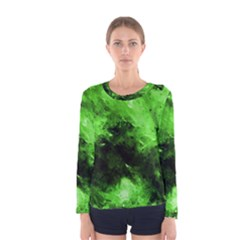 Bright Green Abstract Women s Long Sleeve T-shirts