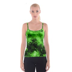 Bright Green Abstract Spaghetti Strap Tops