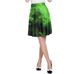 Bright Green Abstract A-Line Skirts