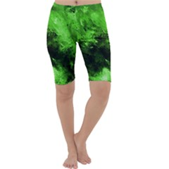 Bright Green Abstract Cropped Leggings