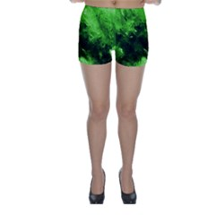 Bright Green Abstract Skinny Shorts