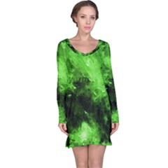 Bright Green Abstract Long Sleeve Nightdresses