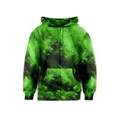 Bright Green Abstract Kids Zipper Hoodies