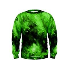 Bright Green Abstract Boys  Sweatshirts