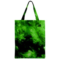 Bright Green Abstract Zipper Classic Tote Bags