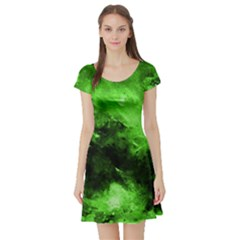 Bright Green Abstract Short Sleeve Skater Dresses