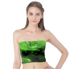 Bright Green Abstract Women s Tube Tops