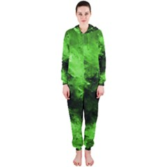 Bright Green Abstract Hooded Jumpsuit (Ladies)