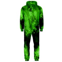 Bright Green Abstract Hooded Jumpsuit (Men)