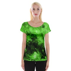 Bright Green Abstract Women s Cap Sleeve Top
