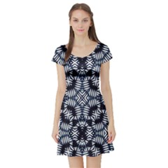 Futuristic Geometric Print Short Sleeve Skater Dresses