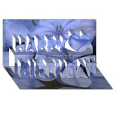 Bright Blue Flowers Happy Birthday 3D Greeting Card (8x4)