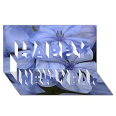 Bright Blue Flowers Happy New Year 3D Greeting Card (8x4)