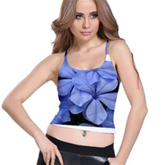 Bright Blue Flowers Spaghetti Strap Bra Tops