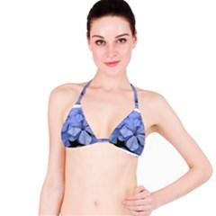Bright Blue Flowers Bikini Tops