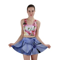 Bright Blue Flowers Mini Skirts