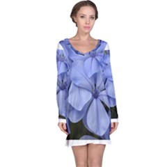 Bright Blue Flowers Long Sleeve Nightdresses