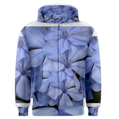 Bright Blue Flowers Men s Zipper Hoodies
